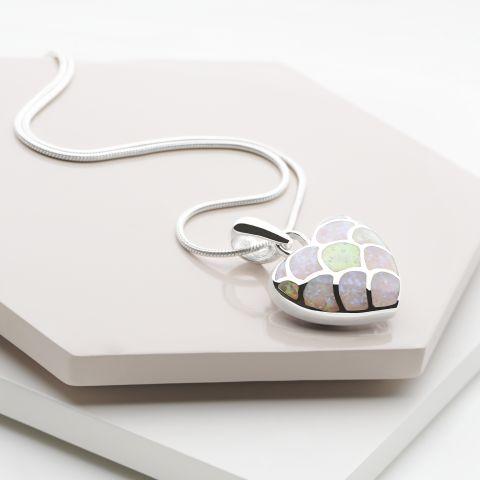 Opal heart pendant silver pendants silver by mail alternative image 1 alternative image 2 alternative image 3 alternative image 4 opal heart pendant aloadofball Choice Image