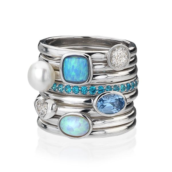 blue opalite stack ring silver rings silver by mail