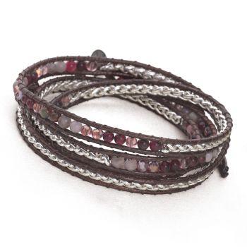 Woven Wrap Bracelet (Berry/Silver)