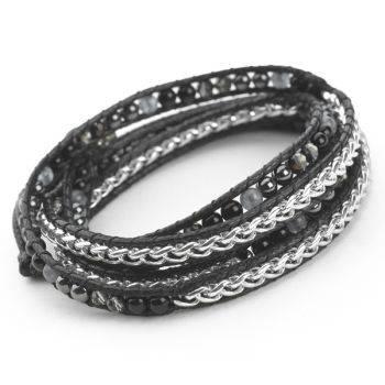Woven Wrap Bracelet (Black/Silver)