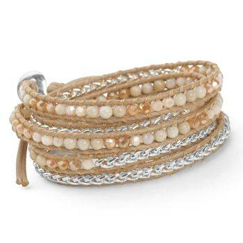 Woven Wrap Bracelet (Tan/Silver)