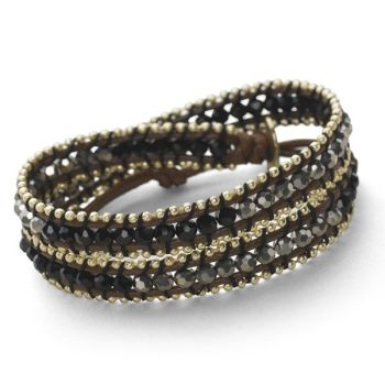 Gold Wrap Bracelet (Black/Silver)