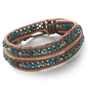 Rose Gold Wrap Bracelet (Emerald Green)
