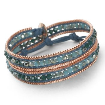 Rose Gold Wrap Bracelet (Sapphire Blue)