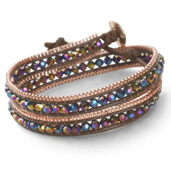 Rose Gold Wrap Bracelet (Iridescent Purple)