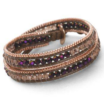 Rose Gold Wrap Bracelet (Purple-Pink)