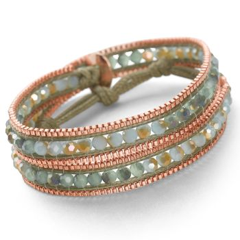 Rose Gold Wrap Bracelet (Seafoam)
