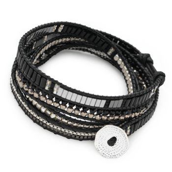 Long Island Wrap Bracelet (Black/Silver)