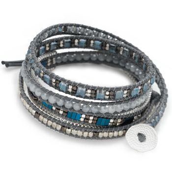 Long Island Wrap Bracelet (Blue/Grey)