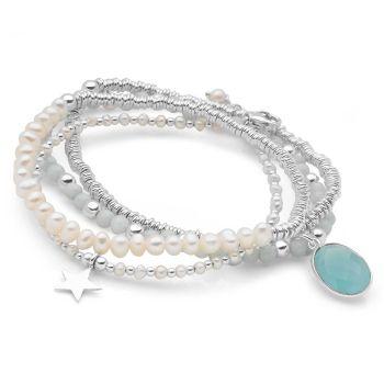 Aqua Blue Bracelet Stack