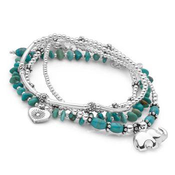 Turquoise Elephant Bracelet Stack