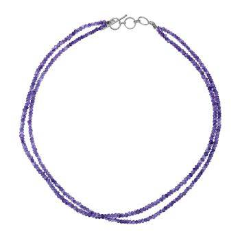 Semi Precious Bead Necklace Amethyst