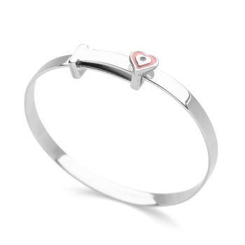 Little Pink Heart Children's Bangle
