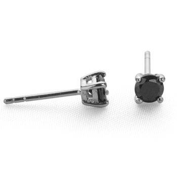 Sparkling Solitaire Studs (Black 6mm)