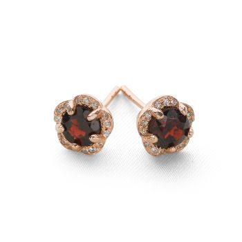 Frosted Garnet Studs