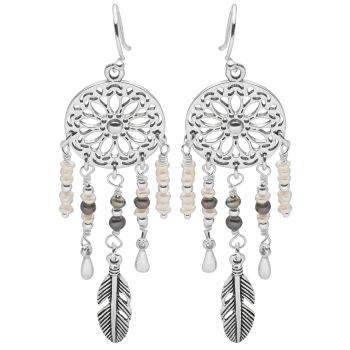 Dreamcatcher Earrings (Pearl)