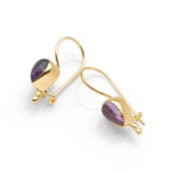 Amethyst Tear Earrings (Gold)