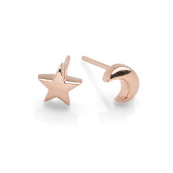 Moon & Star Studs (Rose Gold Plate)