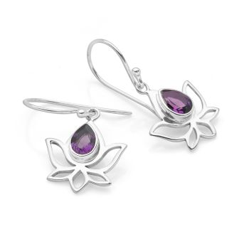 Purple Lotus Earrings