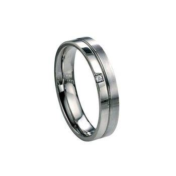 Diamond Stud Steel Ring