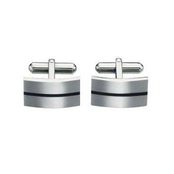 Enamel Stripe Steel Cufflinks