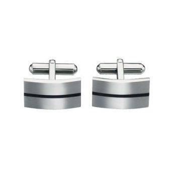 Enamel Stripe Steel Cufflinks