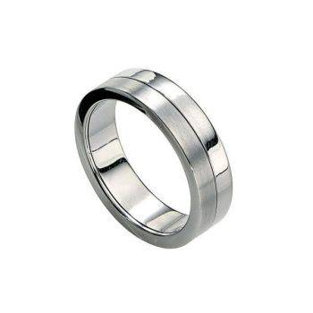 Brushed & Polished Steel Spin Ring