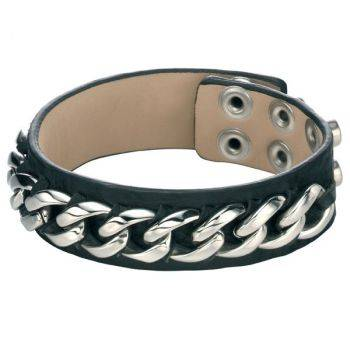 Steel Chain and Leather Bracelet