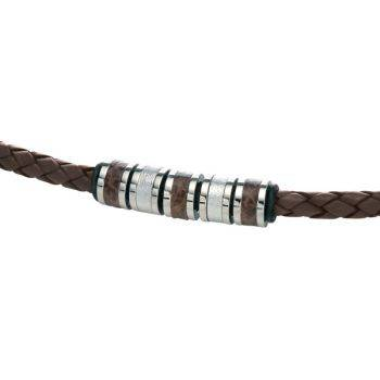 Brown Leather and Steel Beads Necklace