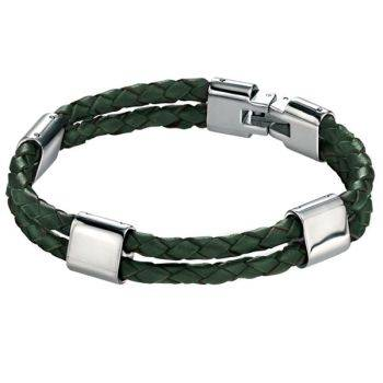 Green Leather and Steel Bracelet