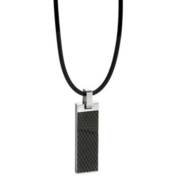Black Honeycomb Dog Tag Pendant
