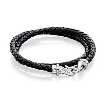 Black Leather and Steel Wrap Bracelet