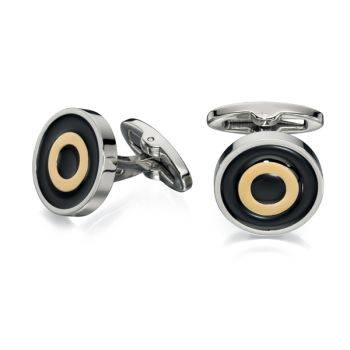 Gold PVD and Black Enamel Round Cufflinks