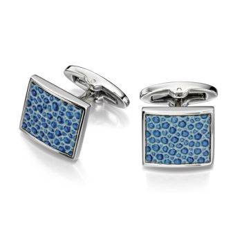 Blue Leather Square Cufflinks