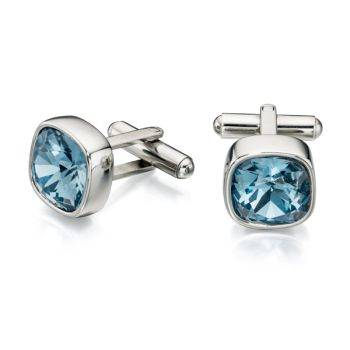 Blue Swarovski Crystal Cufflinks