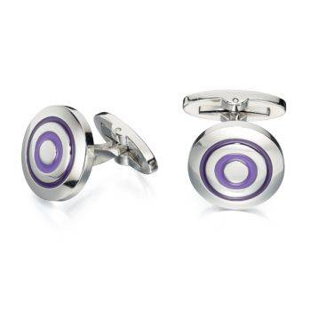 Purple Enamel Round Cufflinks