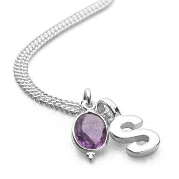 Initial Gemstone Pendant
