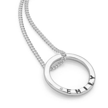 Personalised CZ Ring Pendant