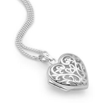 Filigree Heart Locket (Silver)