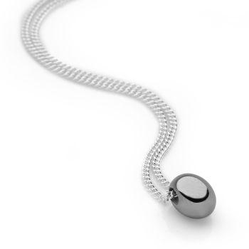 Black Pearl Pendant (Rhodium Plate)