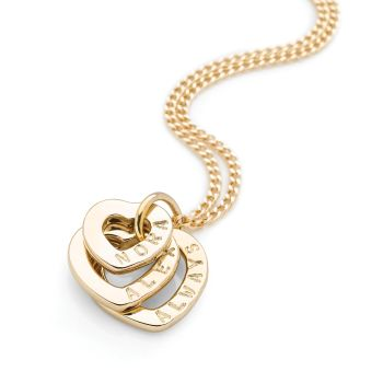 Personalised Hearts Pendant (Gold Plate)