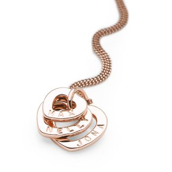 Personalised Hearts Pendant (Rose Gold Plate)