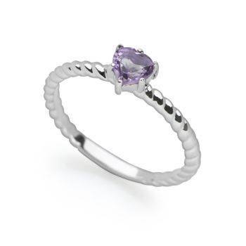 Amethyst Heart Stack Ring