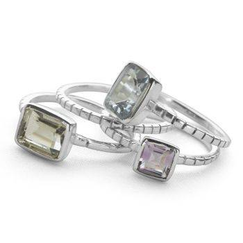 Shimmer Stack Rings (Set of 4)
