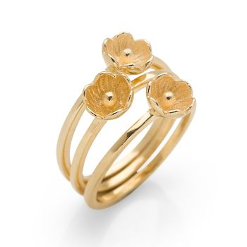 Sunset Flora Rings (Set of 3) Gold Plated