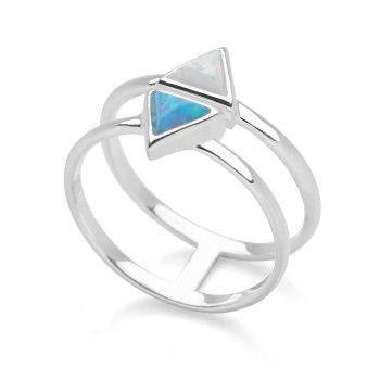 Opal Triangles Ring