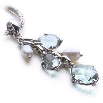Eastern Essence Pendant (Pearl/Blue Obsidian)