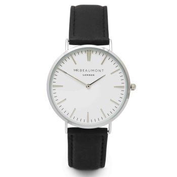 Mr Beaumont Black Nappa Leather Watch