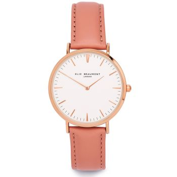 Elie Beaumont Oxford Large Pink Leather Watch