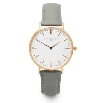 Elie Beaumont Oxford Large Grey Nappa Watch